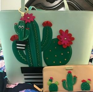 NWOT Kate spade cactus set. Tote, wallet, key fob